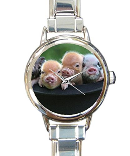 Coolstuffs Cute Baby Pigs Women Ladies Italian Charm Bracelet Wrist Watch Analog Quartz Classic Watch