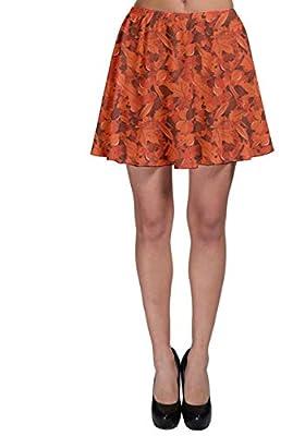 CowCow Womens Orange Autumn Miscellaneous Rich Orange Fall Leaves Pattern Skater Skirt