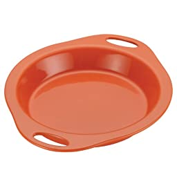 Rachael Ray Stoneware 9-Inch Pie Baker, Orange