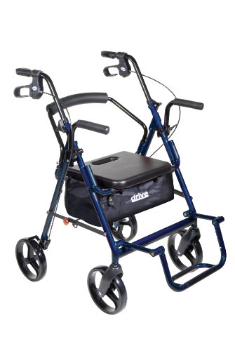 Drive Medical Duet Dual Function Transport Wheelchair Walker Rollator, Blue by Drive Medical (Image #1)