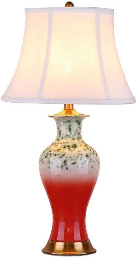 SLH Lámpara de Mesa de cerámica roja, Sala de Estar, Dormitorio de ...