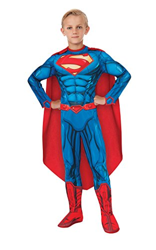 [Rubies DC Comics Deluxe Muscle-Chest Superman Costume, Large (12-14)] (Comic Book Character Costumes Uk)