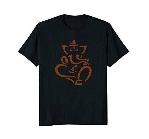 Mens Ganesh Elephant God Hindu Minimalist India T-Shirt (Brown) Medium Black