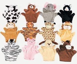 6 Plush Velour Animal Hand Puppets by Fun Express