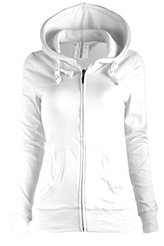 TL Women's Comfy Versatile Warm Knitted Casual Zip-Up Hoodie Jackets in Colors (LARGE, PLAIN_WHITE)