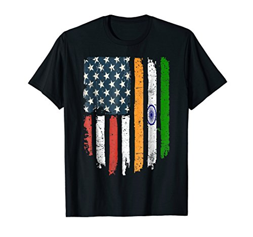 Indian American Flag India USA Hearts Patriot T-shirt ()