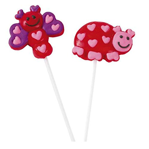 Valentine's Day Bug Character Lollipops - Great For Gift Bags, Party Favors - Cute - Individually Wrapped (Valentines Day Sweets)