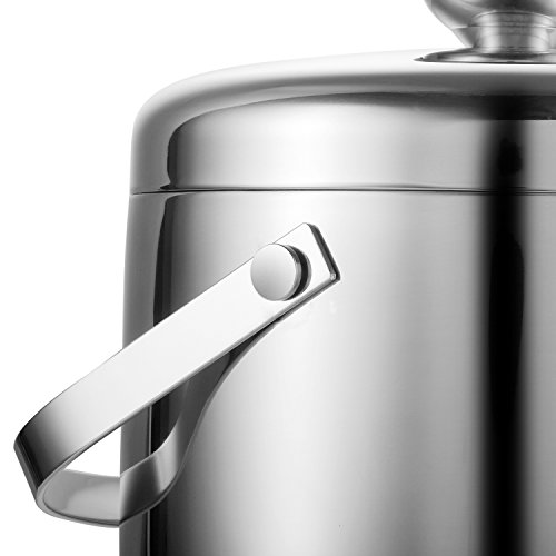 Fortune Candy Double Walled Ice Bucket,Beer Bucket for Parties,Stainless Steel Ice Tongs with Lid 2.8L/2.7 Quart (Silver) by Fortune Candy (Image #2)