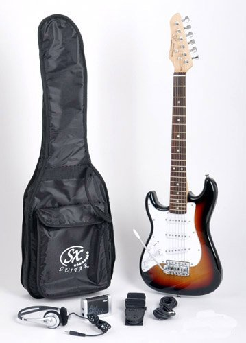 SX RST 1/2 3TS Left Handed 1/2 Size Short Scale Sunburst Guitar Package with Amp, Carry Bag and Instructional Video by SX