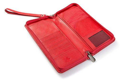 Leather Travel Wallet (Visconti 1157 Large Leather Travel Wallet Planner for Credit Cards Tickets and Passports (Red))