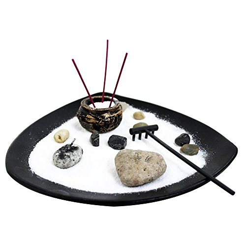 Deluxe Zen Garden Tabletop Kit (Rock Candels, Incense & More)