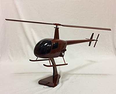 Wood Art USA Robinson R-22 Replica Helicopter Model Hand Crafted with real Mahogany wood