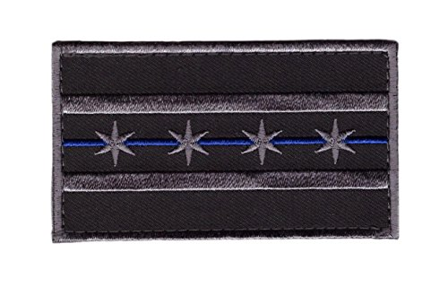 (Hook Blue Line Chicago Subdued Gray Flag Tactical Morale Gear Police Patch CH04)