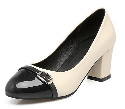 Damen Lackleder Ziehen auf Mittler Absatz Gemischte Farbe Pumps Schuhe, Grün, 43 VogueZone009