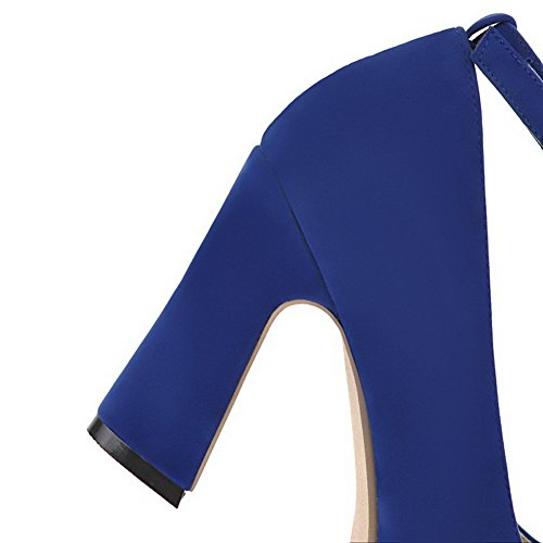 Heels Closed High 38 WeiPoot Pumps PU Solid Round Shoes Blue Women's Toe wEfxFaqxXY