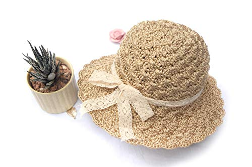 The Bunny Crochet Baby Sun Hats for Girl - Toddler Straw Sun Hat with Wide Brim Sun Protection and Travel Beach (52cm) Beige
