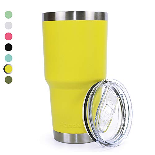 Pandaria 30 oz Stainless Steel Vacuum Insulated Tumbler with Lid - Double Wall Travel Mug Water Coffee Cup for Ice Drink & Hot Beverage, Yellow
