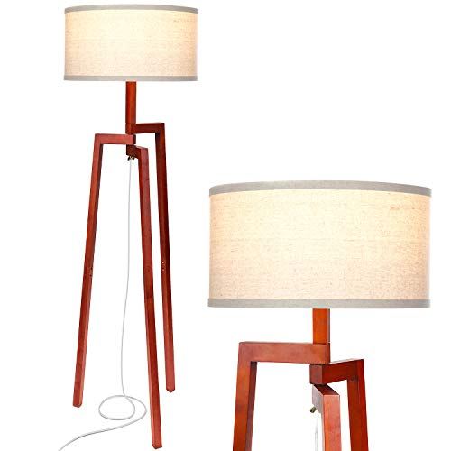 Brightech New Mia LED Tripod Floor Lamp- Modern Design Wood Mid Century Modern Light for Contemporary Living Rooms- Rustic, Tall Standing Lamp for Bedroom, Office- Havana Brown