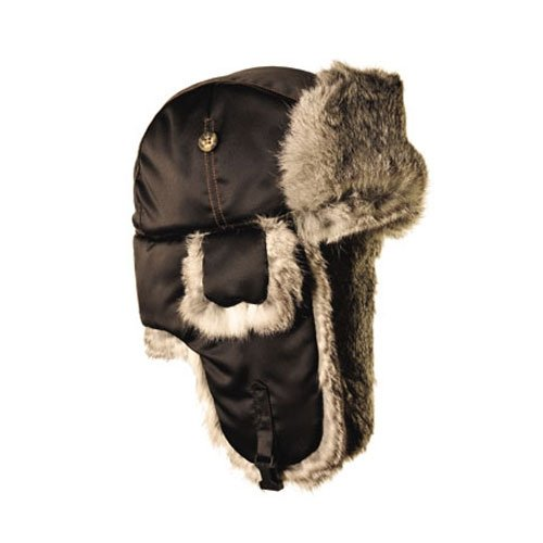 Balaclavas Headwear, Black with Grey Rabbit Fur, Large (Bomber Black Apparel)