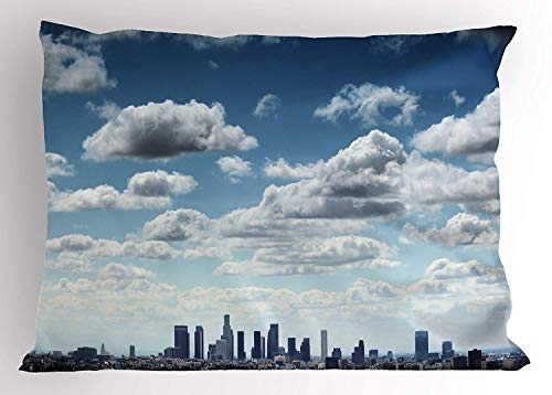 K0k2t0 United States Pillow Sham, Downtown Los Angeles Skyline Under The Summer Sky with Scenic Fluffy Clouds, Decorative Standard Queen Size Printed Pillowcase, 30 X 20 inches, Blue White ()
