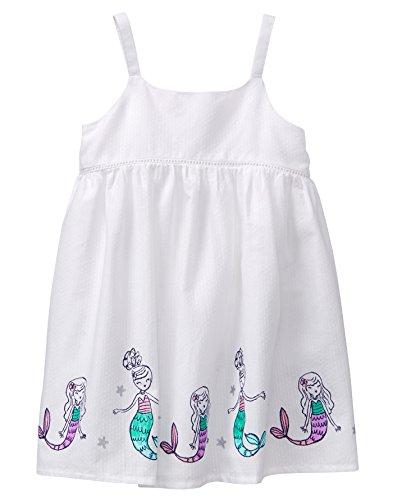 Gymboree Girls' Toddler Mermaid Border Dress, White, 3T