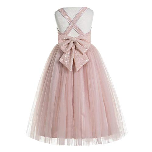ekidsbridal Crossed Straps A-Line Flower Girl Dresses Junior Bridesmaid Dress Formal Dresses 177 6 Blush Pink