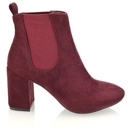 Essex Glam Frauen Synthetische Elastische Hohe Ferse Chelsea Stiefel Burgund Wildlederimitat
