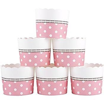 Webake Large Paper Cake Baking Cup Cupcake Muffin Cases, Set of 25 (Pink)