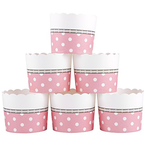 Webake Large Paper Cake Baking Cup Cupcake Muffin Cases,Set of 25 (Pink)]()