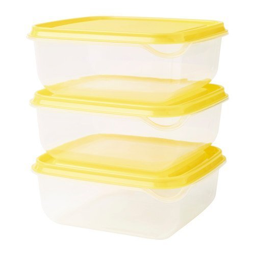 Ikea Pruta 3 Piece Storage Containers - Yellow