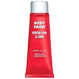 Party Perfect Team Spirit Body Paint Accessory, Red, Non-Toxic, 3.4 Ounces