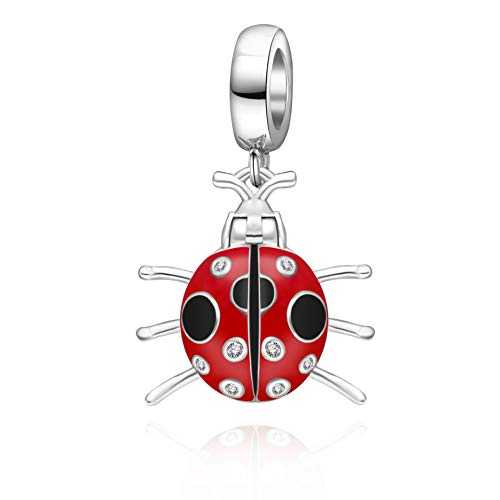 Red Ladybug Charm - Red Ladybug Charms 925 Sterling Silver Insect Animal Dangel Charms Fits 3mm Snake Chain Bracelet