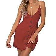 ANRABESS Women's Casual Summer A Line Solid Bohemian Spaghetti Strap Button Down Mini Dress