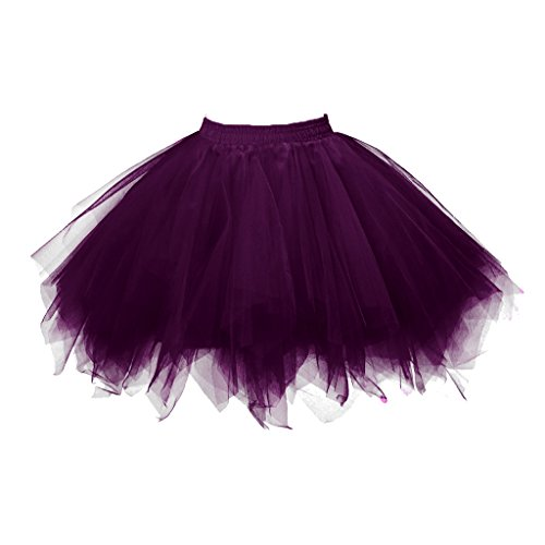 Topdress Women's 1950s Vintage Tutu Petticoat Ballet Bubble Skirt (26 Colors) Dark Purple S/M (Plus Size Tutu Skirt)