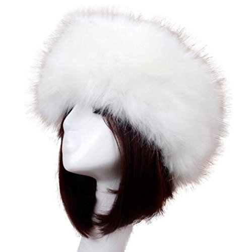 Mchoice Women Winter Faux Fox Fur Hat Cap Women Soft Ski Headdress (White) (Fur Dress Hat)