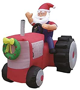Gemmy Airblown Inflatable Santa Claus On Red Tractor - Holiday Yard Decorations, Approximately 6-foot Long x 6.5-foot Tall