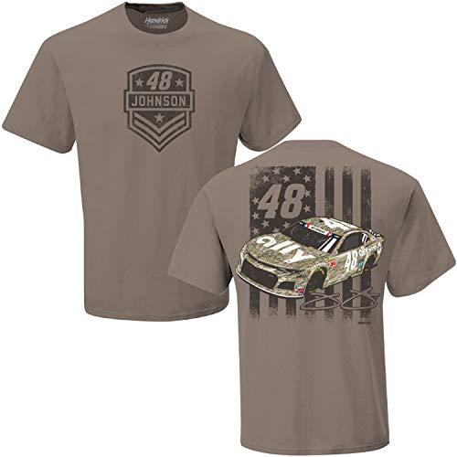 (Checkered Flag Jimmie Johnson 2019 Ally Patriotic Camo NASCAR T-Shirt (Medium) )