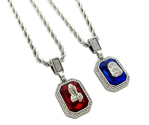 Exo Jewel Double Rope Chain Necklace with Ruby Angel & Sapphire Praying Hands Pendants