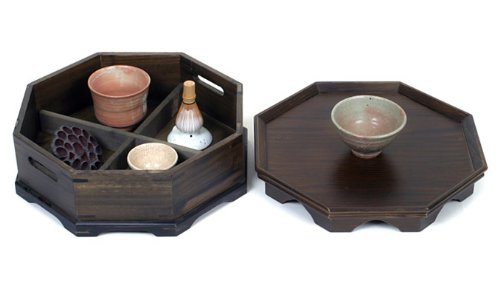 Octagonal Four Compartment Divided Natural Grain Wooden Tea Set Coffee Wine Serving Platter Tray Container Box Storage Holder by Antique Alive Tabletop (Image #5)