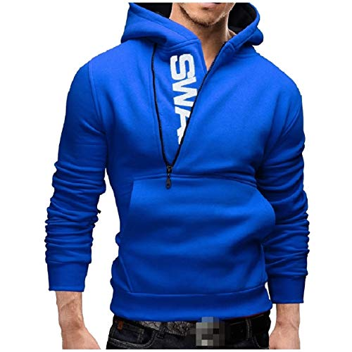 (Abetteric Men's Side Zip Pullover Contrast Long-Sleeve Hoodies Sweater Blue 5XL)