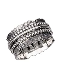 Energy Stone Chrysanthemum Sterling Silver Three Spinners Ring (Style# SR78)