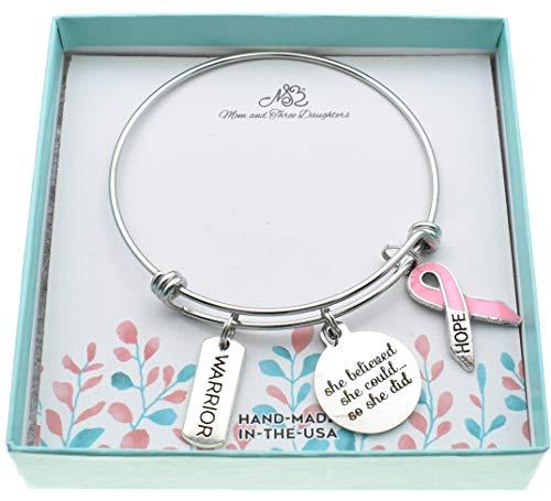 Woman's Bangle Bracelet Pink Awareness Ribbon,