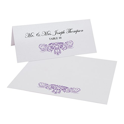 Vintage Frame Easy Print Place Cards, Pearl White, Purple, Set of 325 (82 Sheets) by Documents and Designs
