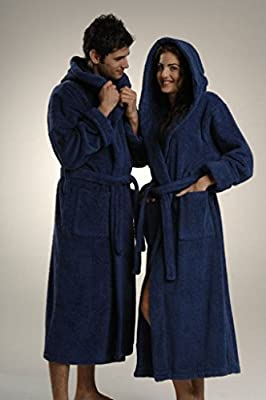 Mens Hooded Robe Coat - Turkish Cotton Mens Bathrobe Lightweight Spa Robe