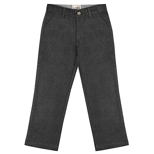Buyless Fashion Boys Pants Flat Front Slim Fit Casual Corduroy Solid Color - 19W1824-CHG-6 Charcoal Gray