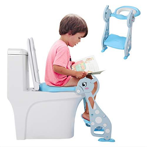 Baby Potty Trainingsstoelen, verstelbare opvouwbare schattige herten armleuning ladder potstoel voor baby jongen…