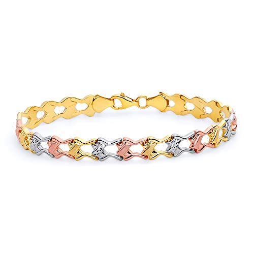 The World Jewelry Center 14k Tri Color Gold Diamond Cut Stampato Bracelet with Lobster Claw Clasp - 7.25