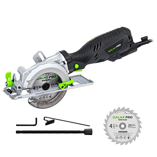 "Circular Saw, GALAX PRO 5.8Amp 3500RPM Mini Circular Saw, Max. Cutting Depth1-11/16""(90°),1-1/8""(45°)Compact Saw with 4-1/2"" 24T TCT Blade, Vacuum Adapter, Blade Wrench, and Rip Guide"