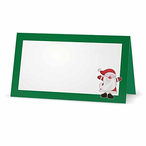 Santa Claus Green Christmas Place Cards - Flat or Tent - 10 Pack - White Blank Front with Border - Placement Table Name Seating Stationery Party Supplies - Occasion or Dinner Event (Tent Style)