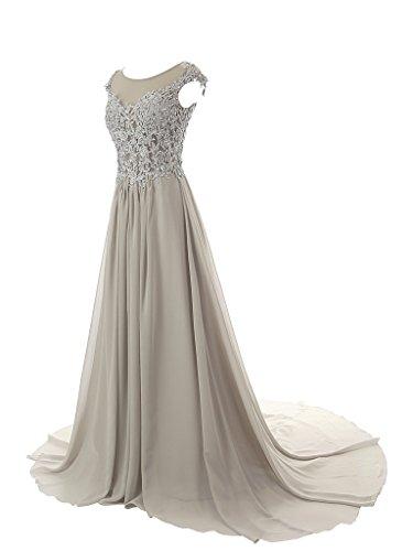 JAEDEN Mangas casquillo Gasa Vestidos de baile Largo Apliques Vestido de noche Vestido de la dama Uva